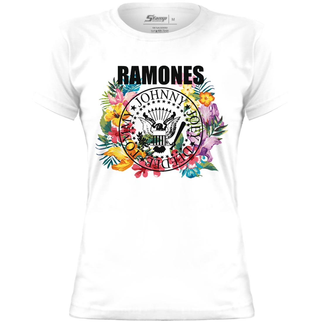 Baby Look Ramones Seal Circle Flowers