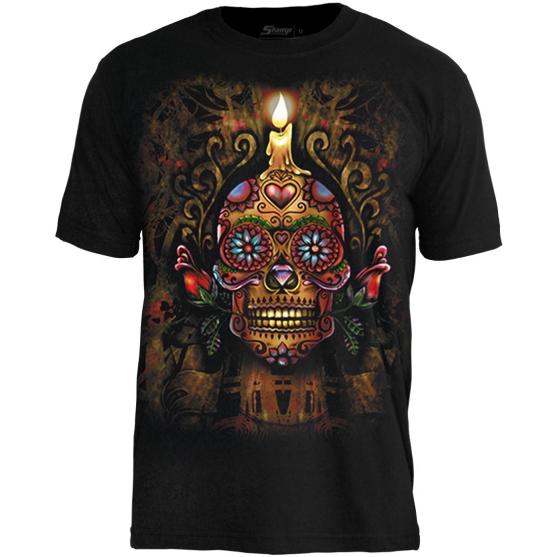 Camiseta Tattoo Mexican Skull Candle