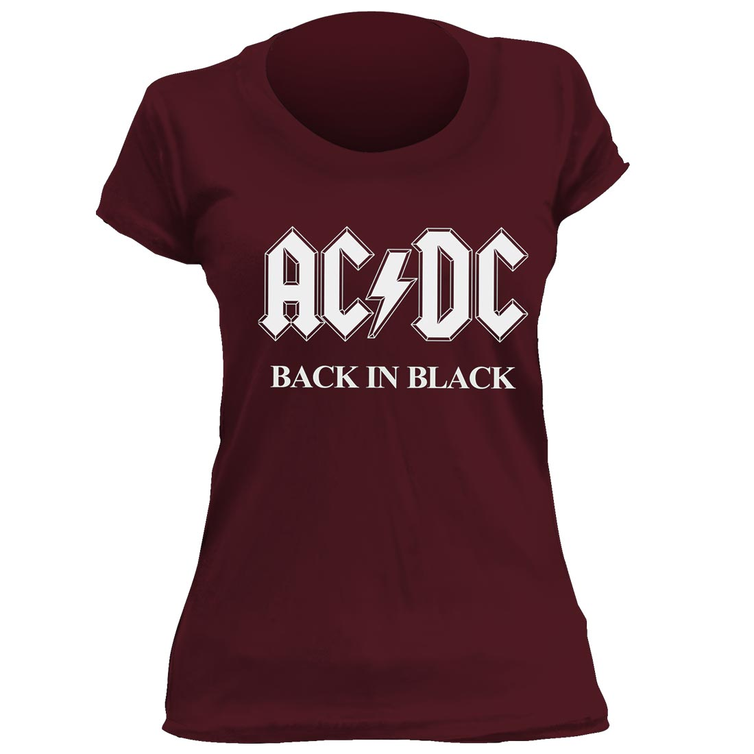 Camiseta Feminina AC/DC Back In Black- Vinho